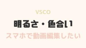 【超簡単】動画編集もVSCO!明るさ色合い編集でふんわり動画にする方法