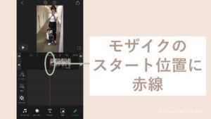 iPhoneのVLLOでモザイクのスタート位置を指示する画面