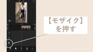 iPhoneのVLLOでモザイクをかける画面