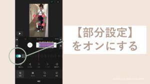 iPhoneのVLLOでモザイクの部分設定をオンにする画面