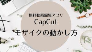 【CapCut】でモザイクを追従させる方法【人の顔や背景も追いかける!】